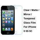 Tempered Glass/Clear/Matte/Mirror Film Screen Protector For Apple iPhone 5 5S 5C