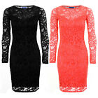 Womens Nicole Celeb Floral Crochet Lace Lined Long Sleeve Bodycon Party Dress