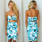 Sexy Womens Beach Floral Strapless Tops Ladies Bandage Bodycon Party Dress 6~12