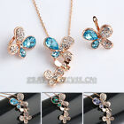 A1-S130 Rhinestone Butterfly Earrings Necklace Jewelry Set 18KGP Crystal CZ