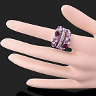 Amethyst pink Austrian Crystals White Gold GP Fashion finger Ring
