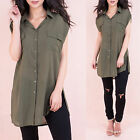 AP53 Womens Cap Sleeve Button Oversize Loose Chiffon T Shirt Ladies Top Blouse