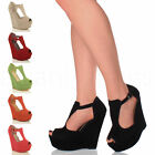 WOMENS LADIES HIGH HEEL WEDGE PLATFORM T-BAR BUCKLE PEEP TOE SANDALS SHOES SIZE