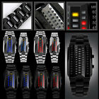 C8 US Mens Womens Binary LED Wristwatch 3D Digital Stainless Steel Band Watches