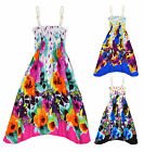 Girls Bright Floral Print Cotton Summer Dress Kids Beach Dresses Age 2-12 Years