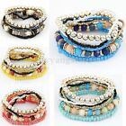 Fashion Lady 1 Set Bohemian Multilayer Stretch Acrylic Beads Bracelet Bangle New