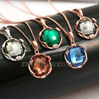 A1-P406 Fashion Solitaire Gemstone Necklace Pendant 18KGP Swarovski Crystal