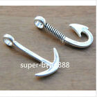 30/200Pcs Antique Silver Anchor Fish Hook Charm Pendant Set Jewelry Findings