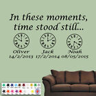 Family Wall Art Sticker Personalised In These Moments Time Stood Still & Clocks