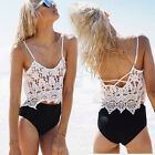 Sexy Women Sleeveless Lace Floral Camisole Shirt Summer Casual Blouse Crop Top