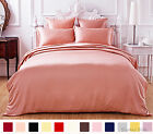 19mm 100% Pure Silk Seamless Duvet Cover Fitted & Flat Sheet Set Size Cal King