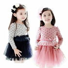 Girls Kids Tutu Skirt Princess Party Dress Bow Polka Dot High Waist 2-7Y Clothes