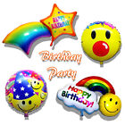 Happy Birthday Smiley Face Rainbow Cloud Star Foil Balloon Kids Party Supply