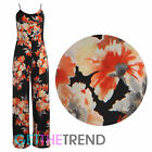 Womens Ladies Celeb Inspired Black Floral Strappy Palazzo Trouser Long Jumpsuit