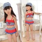 Girls Kids Tankini Stripe Dot Swimsuit 2-7Y Swimwear Heart Bow Beachwear Bathing