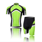 Men's Short Sleeve Bicycle Green Cycling Jersey 3D Padded Shorts Outdoor Sports
