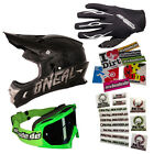 ONEAL Motocross Helm 3series Plain Element Handschuhe schwarz Brille Stickerset