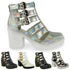 New Women Cut Out Gladiator Strappy Ankle Boots Mid High Heel Shoes Size