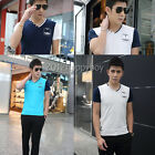 4 Colors Summer Casual Mens V-Neck Cotton Slim T-Shirt Stylish Tops Blouse M-2XL