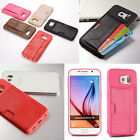 TPU Leather Credit Card ID Holder Wallet Case Cover For Samsung Galaxy S6/ Edge