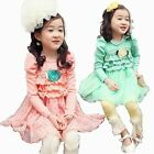 Autumn Kids Toddler Polka Dot Girls Flowers Party Princess Dress 2-7Y Tutu Skirt