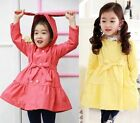 Girls Trench Coat Wind Jacket 2-7Y Belt Dress Kids Clothes Autumn Hooded Outwear