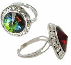 Cocktail ring channel set rhinestones adjustable your choice red or green AB new