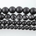 Natural Onyx Gemstone Round Beads 15.5'' Strand 6 8 10 12MM Matte Black SBG059