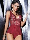 Coquette Womens Sexy Cabernet Lingerie Set Crotchless Lace Mesh Teddy Nightwear