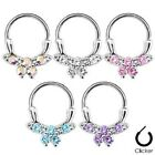New Surgical Steel Pretty Gem Bow Septum Nose Ring Hoop Clicker 16g