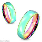 HOT MENS WOMENS STAINLESS STEEL RAINBOW PRIDE DOME COUPLES WEDDING BAND RING