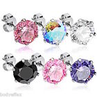 HOT PAIR OF SURGICAL STEEL SILVER ROUND CUT CUBIC ZIRCONIA STUD POST EARRINGS