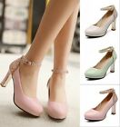Women's Grace Ankle Strap Patent Leather Stitching Chunky High Heel Shoes Pumps