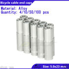 5.0*23mm Bike bicycle brake cable housing Ends caps lined ferrules Alloy Silver