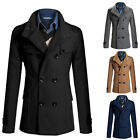 Mens Trench Coat Winter Jacket Wool Pea Coat Overcoat Outwear Formal Windbreaker