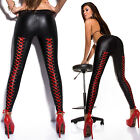 LEGGING FEMME WETLOOK NOIR AVEC LACAGE SATIN ROUGE TOP SEXY FASHION T.S/M