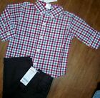 Gymboree Linen Pant Set Brown 2pc Plaid LS Shirt Boy sizes 12-18 18-24 mo New