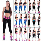 Womens Athletic Cropped 3/4 Pants Cycling Yoga Gym Slim Sport Leggings Bottoms
