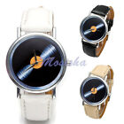 Mens Womens Vinyl Disc Pattern Round Case PU Leather Band Quartz Wrist Watch
