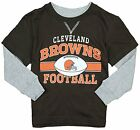 NFL Football Kids Boys Cleveland Browns Long Sleeve Faux Layer Shirt - Brown
