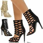 WOMENS LADIES PARTY HIGH HEELS STILETTO SANDALS CUT OUT PEEP TOE ANKLE CAGE SIZE