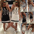 UK Womens Celeb Sexy Boho Casual Long Tops Ladies Summer Love Printed Mini Dress