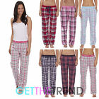 WOMENS WOVEN CHECK TROUSERS LADIES NIGHTWEAR PYJAMA BOTTOMS PANTS S M L XL