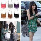 Women Faux Suede Tassel Fringe Cross Body Shoulder Handbag Messenger Bag - LD