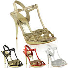 Strappy Sandals Shoes Ladies Diamante Prom Party Mid High Heel Size