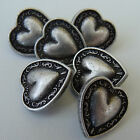 5 x metal heart buttons  11mm 16mm 19mm or 22mm