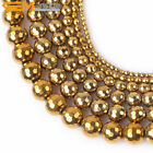 """Round Faceted Gold Hematite Jewelry Making Loose Gemstone Beads15"""" 2-12mm Select"""