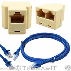 3 Port RJ45 Network Ethernet LAN Coupler Joiner Adapter + Cat5e Internet Cable