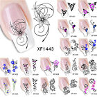 Vintage 3D Flower Water Transfer Nail Art Stickers Manicure Tips Decal Decor