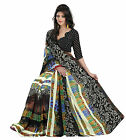Indian Striking Multi Colored Printed Faux Georgette Saree By Triveni